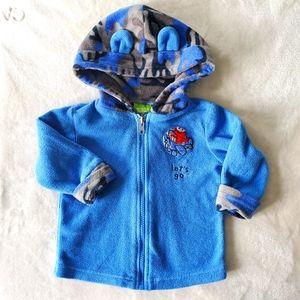 Sesame Blue Fleece Zippered Sweater Size 6-12M
